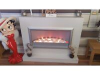 PRICE CUT FOR QUICK SALE - SOLID MARBLE FIRE SURROUND WITH FIRE