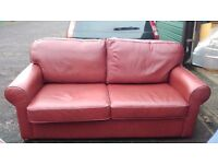 Red Soft Leather Sofa & Chair