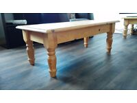 Two solid pine chunky coffee tables