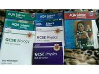 GCSE Science, Maths and English Texbooks and Revision Guides.