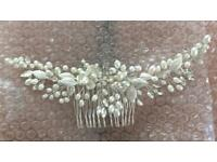 Designer Curved Crystal and Pearl Hair Comb