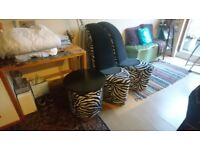 Pair of High Heel Shoe Stiletto Chairs and Table
