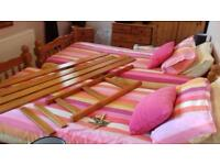 Solid pine bunk beds/2 single beds