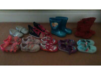 Joblot of baby girl shoes boots size 4 bundle