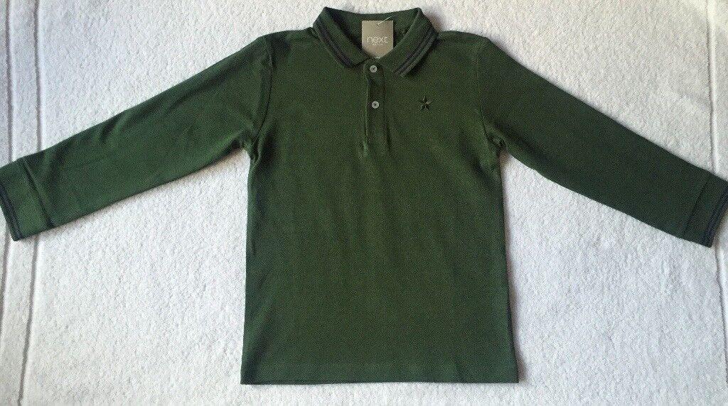 3aeb50b8d BNWT Next Boy Khaki Long Sleeve Polo Shirt 5 - 6 Years