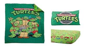 Teenage Mutant Ninja Turtles Toddler Comforter Reversible Classic TMNT Standard Size Fitted Sheet 3 Pcs Bedding Set