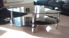 Black glass and chrome tv stand ...coffee table...side table ....stereo stand