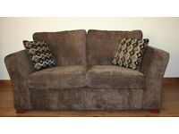Dark brown plain fabric 2 seats sofa with FREE DELIVERY only £230