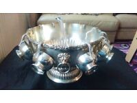 SILVER PLATED PUNCH BOWL WITH 10 CUPS