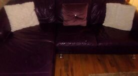 Plum coloured corner and 2 seater leather suite