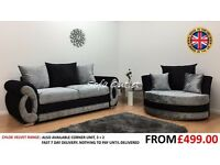 CHLOE CRUSHED VELVET 3 + CUDDLE CHAIR SOFA SET - FAST FREE U.K DELIVERY