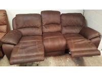 3 Seater Recliner Sofa. Suede Fabric-Chocolate.