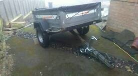 Heavy duty metal trailer tipper with tailgate. Jockey wheel. Brand new cover mint condition