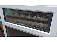 PVC WINDOW WITH OBSTRUCTED GLASS AND SILL