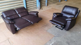 2 Seater Recliner Sofa And Armchair - Brown.