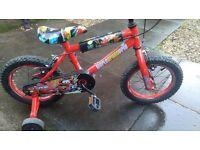 Kids Bike - Disney Cars brand, 14 inch with stabilisers + helmet