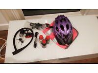 Bike helmet, lock, portable pump, high viz and LED lights