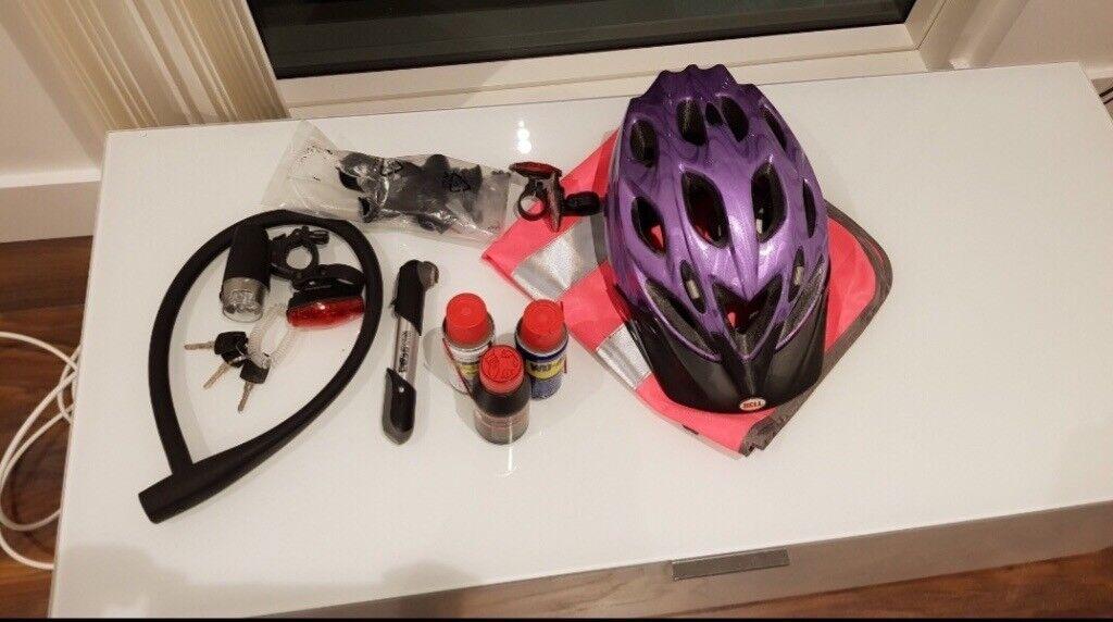 Bike helmet lock portable pump high viz and LED lights & Bike helmet lock portable pump high viz and LED lights | in ...