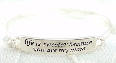 Silver Life is Sweeter cause you are my Mom Bangle Bracelet Fashion Jewelry NEW (Cause Bracelets)