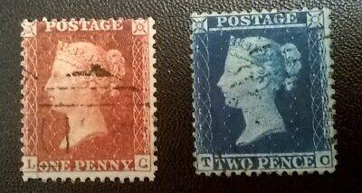 GB SC 20-21* SG 29-34/35 QV 1d & 2d WMK 20 * Lge Crown * Perf 14 *Whte Paper Lot
