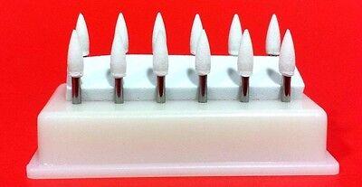 Flame Mounted White Stone Dental Polishing Burs- Fg 12pk Abrasion Point Bur