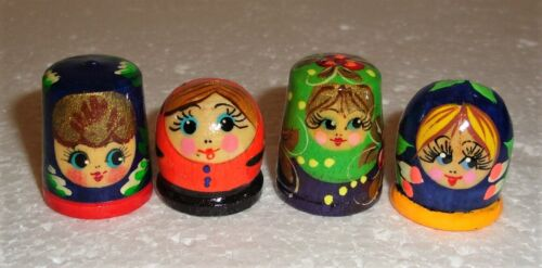 Beautiful Russian SET OF FOUR THIMBLES ~ Wooden Hand painted ~ NEW