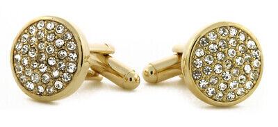 Crystal Cubic Zirconia Cufflinks - Men's Solid Round Crystal Cufflinks with AAA+ Cubic Zirconia with Gift 13