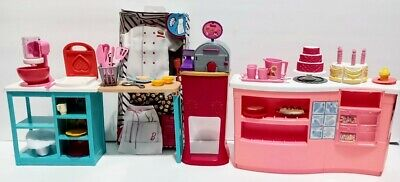 Mattel Barbie Doll Pizza Oven Kitchen Furniture And Accessories Lot NEW Chef Set