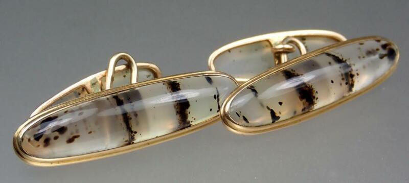 Wow Antique Victorian 10K Gold 18.7ct Tiger Stripe Moss Agate Cabochon Cufflinks