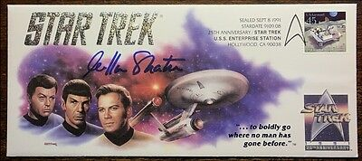 WILLIAM SHATNER / JAMES T KIRK 1991 Prominent TREK AUTO SIGNED OFFICIAL CACHET (B)