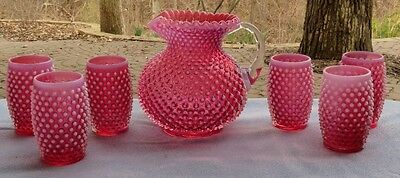 Vintage Fenton Cranberry Opalescent Hobnail Water Set: Pitcher and 6 Tumblers