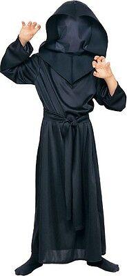 Boys Black Hidden Face Reaper Costume Invisible Mesh Mask Robe Suit Kids Child (Boys Black Robe)