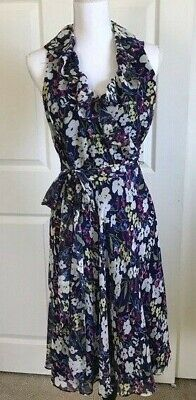 Ralph Lauren Floral Ruffle Neck Wrap Self Belt Dress Navy Blue Size 6