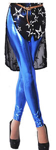 Metallic Liquid Wet Look Shiny Stretchy Leggings Tights Ankle Length Size Pants