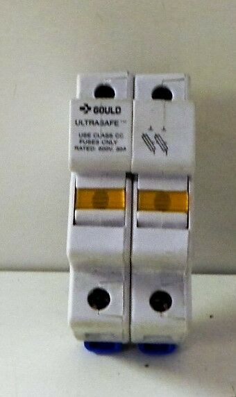 Gould USCC2I Fuse holder Ultra-safe Use class CC fuses only 600V 30Amp. Used.