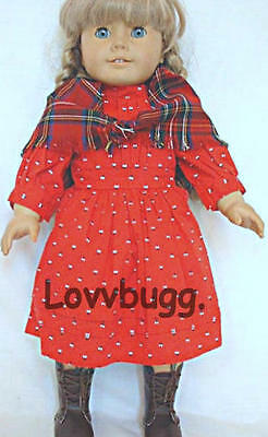 "Lovvbugg Pioneer Red School Dress for 18"" American Girl Doll Clothes Swedish Pioneer Kirsten"