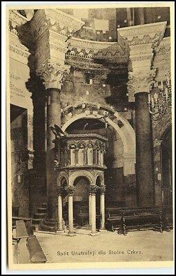 SPLIT Jugoslawien ~1925 Unutrasnji dio Stoine Crkve Dopinica Vintage Postcard