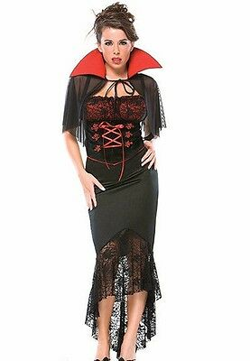 Vampire Womens Costume (Sexy Vampire Costume Fancy Dress Adult Vampiress Womens Adult Vampirina)