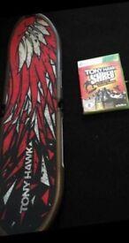 Tony Hawk SHRED Xbox 360 Game With Remote Sensor Skateboard (Like New)