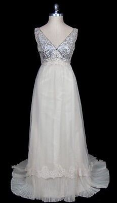 Vintage c. 1970 Valentino Beaded Lace Wedding Dress