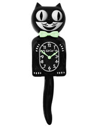New Classic Black Glow Kit Cat Clock 15.5 High  Free Ship USA