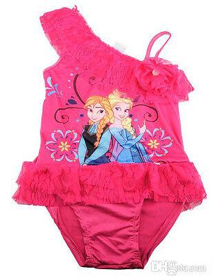 Frozen Anna Elsa Badeanzug Kostüm Rosa Mädchen Kinder 2 3 4 5 6 7 Jahre