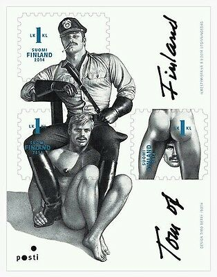 Tom of Finland, Finnish 1st-Class Postage Stamps, sheet of 3, gay interest, MNH