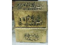 X2 COLLECTIBLE HAND TOOLED BRASS ANTIQUE KINDLING STORAGE BOXES/ CHEST FIREPLACE MANTEL PIECES