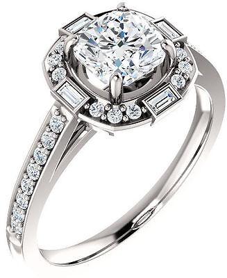 Cushion & Baguette cut Diamond 14k White Gold Engagement Ring GIA F SI1 3.30 tcw
