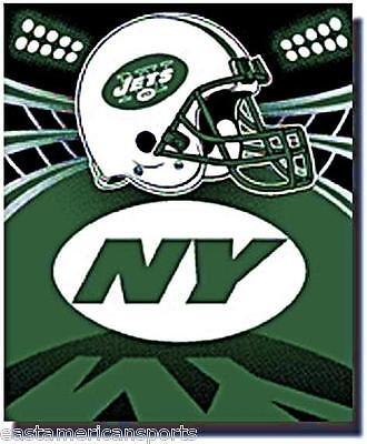 New York Jets NFL 50 x 60 Green Fleece Throw Blanket NY Helmet Logo Bed Bedding
