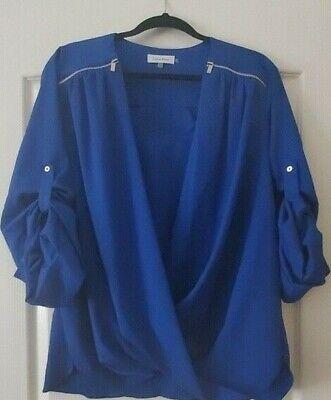 Calvin Klein Womens Blouse Cobalt Blue Drape Front Long Sleeve X Large Fashion