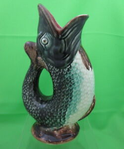 Antique Majolica Black Fish Gurgle Jug