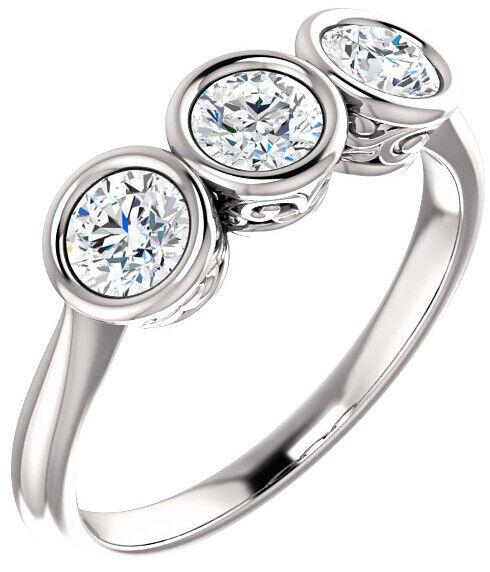 1.80 ct 3 Stone Round Diamond GIA E-F SI2 clarity Bezel Set Ring 14k White Gold 1