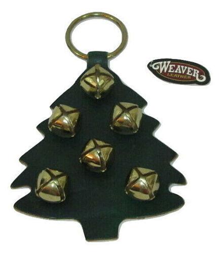 "Weaver Leather Tree Door Hanger Christmas Brass Sleigh Bells 7.5""x9"" Made in USA"